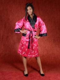 Satijnen Kimono tweezijdig draagbaar Donker Roze - Zwart