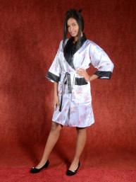 Satijnen Kimono tweezijdig draagbaar Wit - Zwart