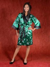 Satijnen Kimono tweezijdig draagbaar Groen - Zwart