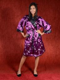 Satijnen Kimono tweezijdig draagbaar Purple - Zwart