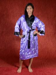Satijnen Kimono tweezijdig draagbaar Lila - Zwart