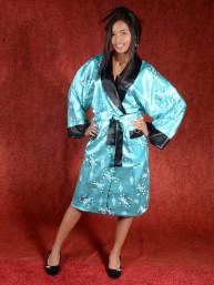 Satijnen Kimono tweezijdig draagbaar Turkoois - Zwart