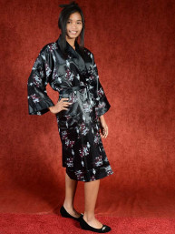 Satijnen Kimono tweezijdig draagbaar Zwart