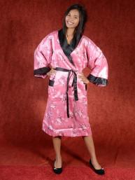 Satijnen Kimono tweezijdig draagbaar Oud Roze - Zwart