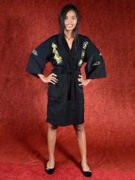 Satijnen Kimono met grote geborduurde draak Zwart