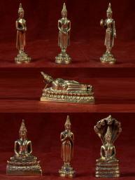 Set van 7 dagboeddha's messing