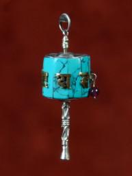 Hanger gebedsmolen met turkoois