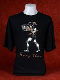 "Muay Thai T-Shirt ""Hanuman Hak Dan"" van Human Fighting, Anusha Saisuk design, zwart"