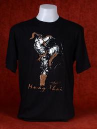 "Muay Thai T-Shirt ""Sila Kratob"" van Human Fighting, Anusha Saisuk design, zwart"