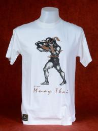 "Muay Thai T-Shirt ""Hak Dan"" van Human Fighting, Anusha Saisuk design, wit"