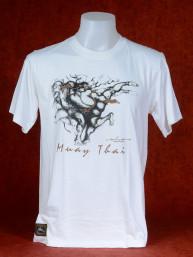 "Muay Thai T-Shirt ""Pra Ram Yeap Longkar"" van Human Fighting, Anusha Saisuk design, wit"