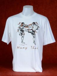"Muay Thai T-Shirt ""Mon Yan Luk"" van Human Fighting, Anusha Saisuk design, wit"