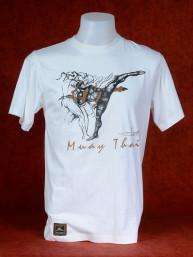 "Muay Thai T-Shirt ""Bata Loop Bak"" van Human Fighting, Anusha Saisuk design, wit"