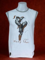 "Muay Thai tanktop ""Sila Kratob"" van Human Fighting, Anusha Saisuk design, wit"