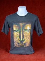 T-Shirt met hoofd van Boeddha grijs