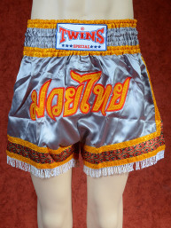 Originele Twins Muay Thai Wedstrijd short, tassels zilvergrijs