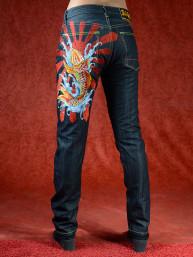 Geborduurde jeans Sugoi met Koikarper