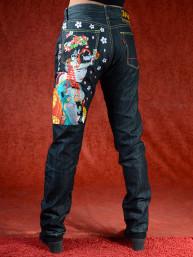Geborduurde jeans Sugoi met Geisha