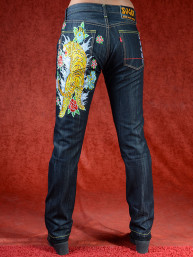 Geborduurde jeans Sugoi met Tijger en Lotus