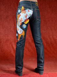 Geborduurde jeans Sugoi met Koi en lotus