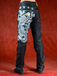 Geborduurde jeans Sugoi met grijze Koikarper