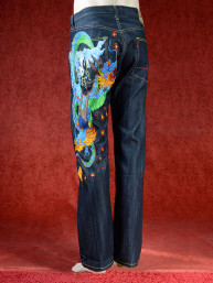Geborduurde jeans Sugoi met Chinese draak