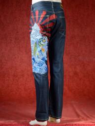 Geborduurde jeans Sugoi met Koi naar Drakenpoort