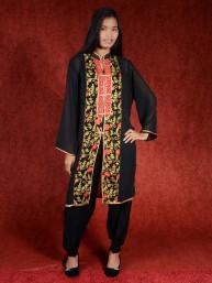 Salwar kameez, Indiase jurk of Punjabi dress zwart-rood-oranje