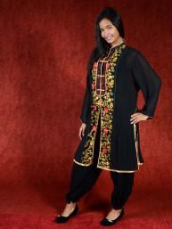 Salwar kameez, Indiase jurk of Punjabi dress zwart red flower