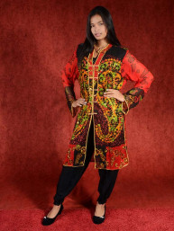 Salwar kameez, Indiase jurk of Punjabi dress rood-zwart-groen