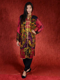 Salwar kameez, Indiase jurk of Punjabi dress zwart big flower