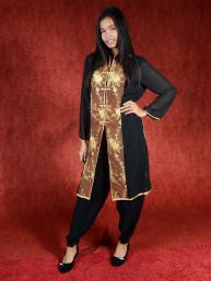 Salwar kameez, Indiase jurk of Punjabi dress zwart-bruin