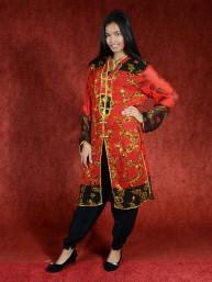 Salwar kameez, Indiase jurk of Punjabi dress rood zwart
