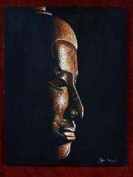 Schilderij met hoofd van Khmer Boeddha op canvas