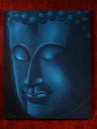 Schilderij met hoofd van Boeddha acryl op canvas