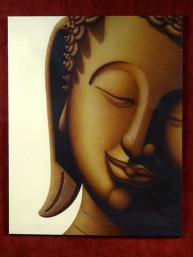 Schilderij met glimlach van Boeddha