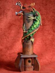 Wierookbrander met draak groot groen-rood