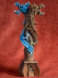 Wierookbrander met dubbele draak bruin- blauw