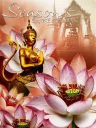 Thaise dubbele wenskaart met envelop kerst & nieuwjaar
