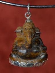 Ganesha hanger van tijgeroog in zilveren vatting
