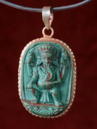 Hanger van Ganesha groen speksteen