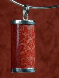 Rood sponskoralen hanger in zilveren 925 vatting