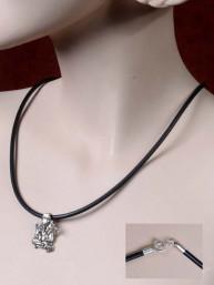 Rubber halskoord met zilveren sluiting