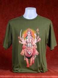 T-Shirt met Durga op heilige leeuwin