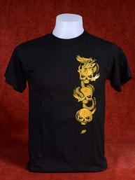 T-Shirt met afbeelding van Chinese Draak en schedels