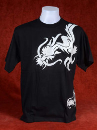 T-Shirt met twee zilveren Chinese Draken zwart