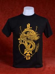T-Shirt met Chinese Draak en zwaarden goud
