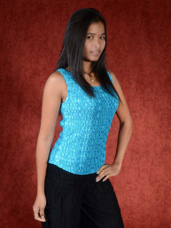 Spandex stretch top turkoois