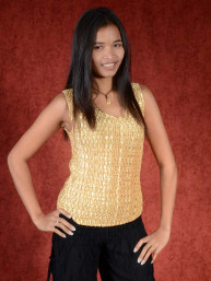 Spandex stretch top goud
