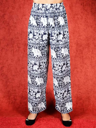 Tai chi broek met touwtje olifant print donker blauw